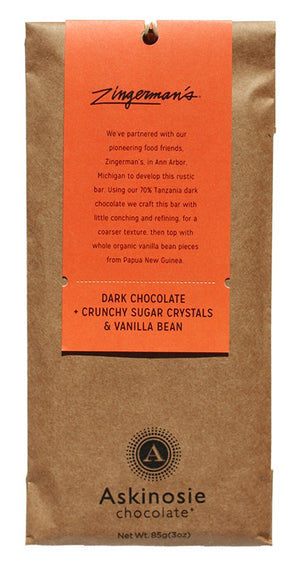 Dark Chocolate + Crunchy Sugar Crystals & Vanilla Bean CollaBARation Bar