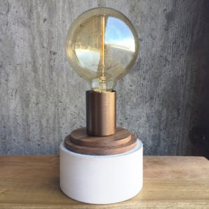 Concrete Stack Lamp - Walnut