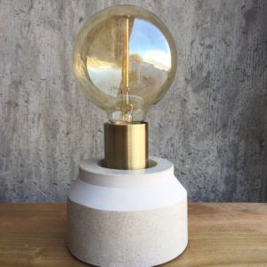 Tapered Concrete Lamp – Brass