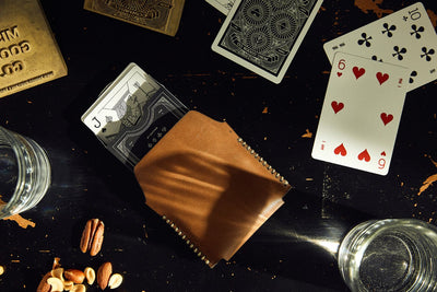 Single Leather Case w/ Black Playing Cards