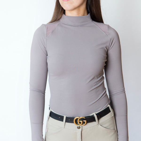 The 'CHLOE' High Collar Technical Top | Suede