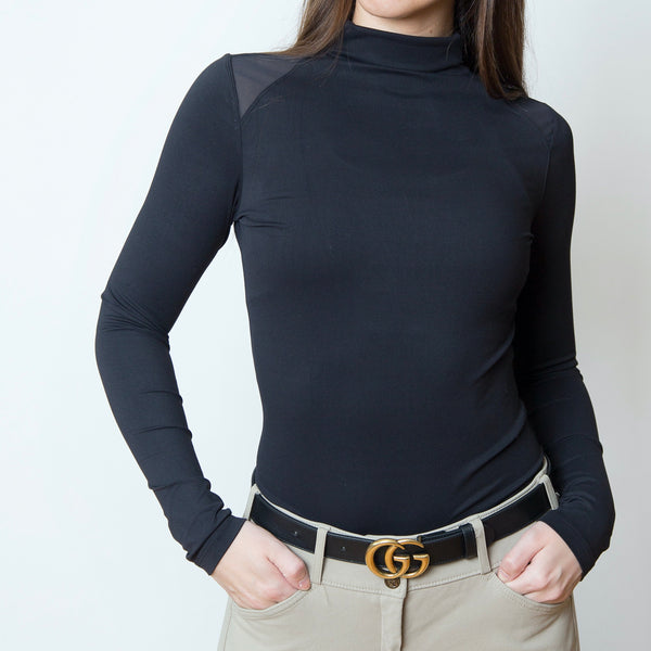 The 'CHLOE' High Collar Technical Top | Classic Black