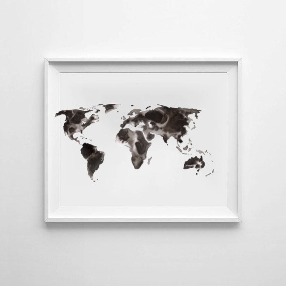'Map of the World' Ink Bloom Monochrome Print