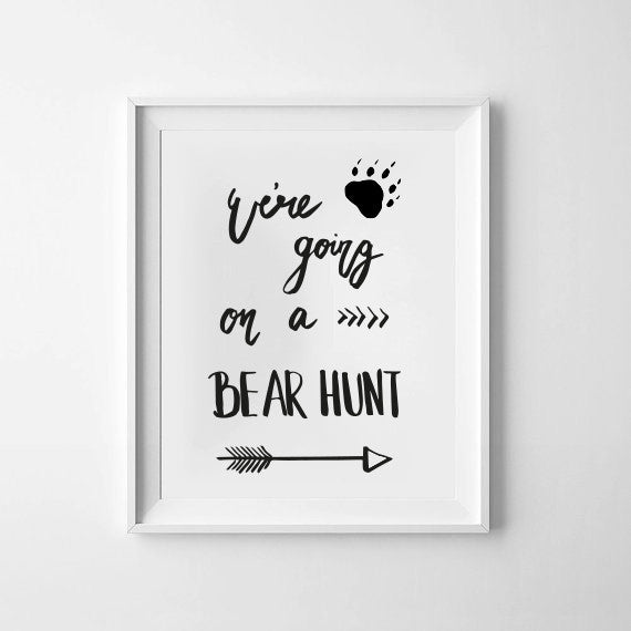 'Bear Hunt' with arrow Monochrome Print