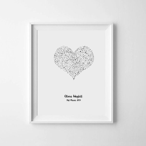'Dotty Heart Personalised' Monochrome Print