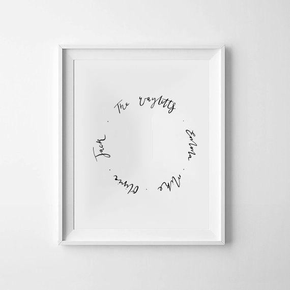 Family Names Eternity Circle - Hand Calligraphy