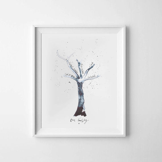 'Family Tree' Personalised Ink Bloom Print