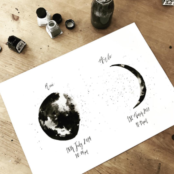 Birth 'Moon Phase' Ink Bloom Painting