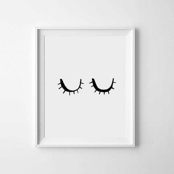 'Sleepy Eyes' Monochrome Print