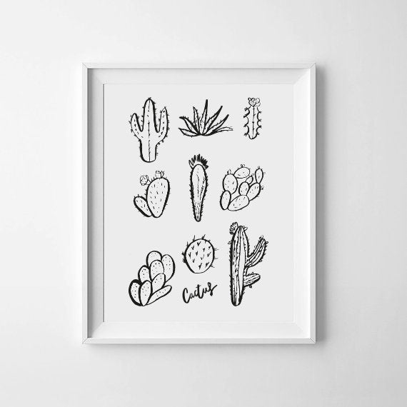 'Cacti Set Illustration' Monochrome Print