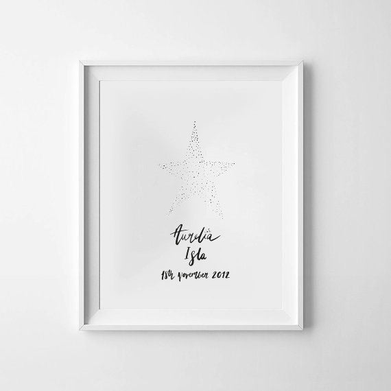 'Dotty Star Personalised' Monochrome Print