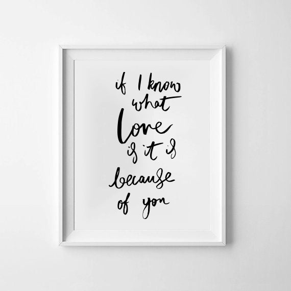 If I know what love is it is because of you Print