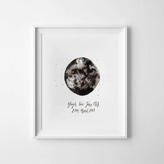 Anniversary or Wedding 'Moon Phase' Ink Bloom Painting