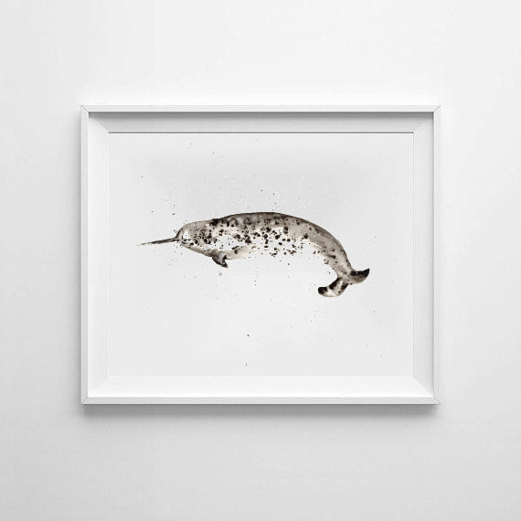 'Narwhal' Ink Bloom Print