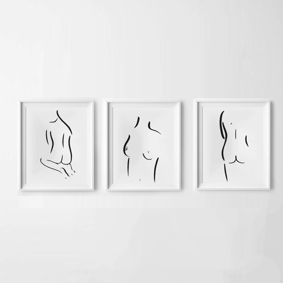 'The Nudes' Set of 3 Hand Illustration Prints