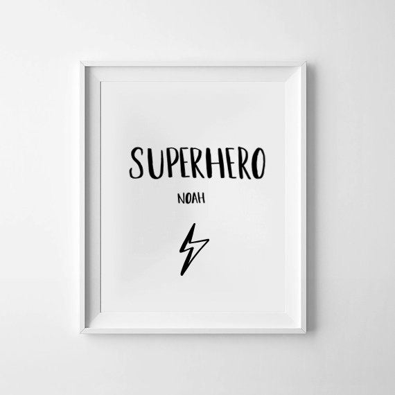 'Superhero Personalised' Monochrome Print