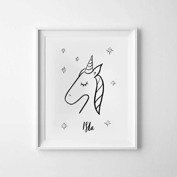 Unicorn Personalised Monochrome Print