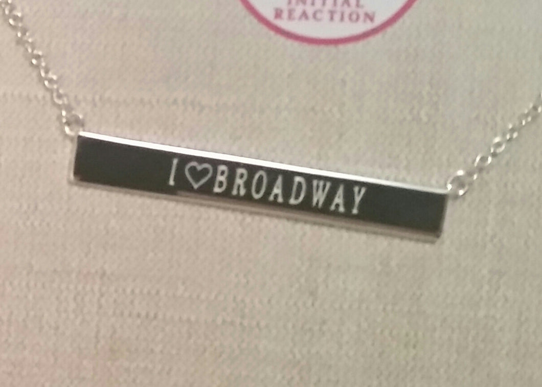 I Love Broadway Sterling Silver HORIZONTAL Bar Necklace