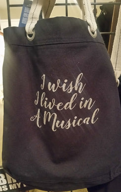 Canvas Tote w/ Glitter Text