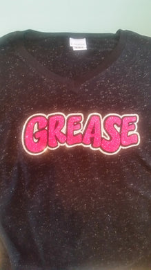 Grease  V Neck Glitter Shirt