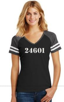 24601 Val Jean - Ladies V Neck Game Day T-Shirt