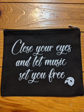 Zippered Pouch - Close Your Eyes Music Notes