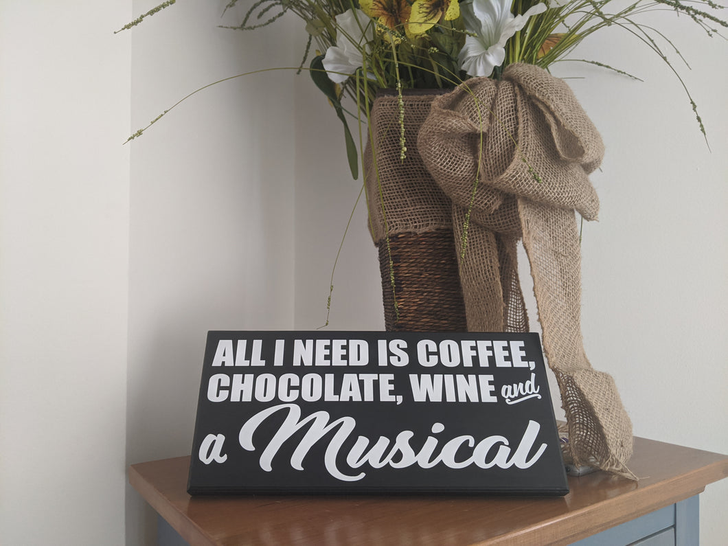 All I Need is Coffee, Chocolate, Wine & A Musical Sign