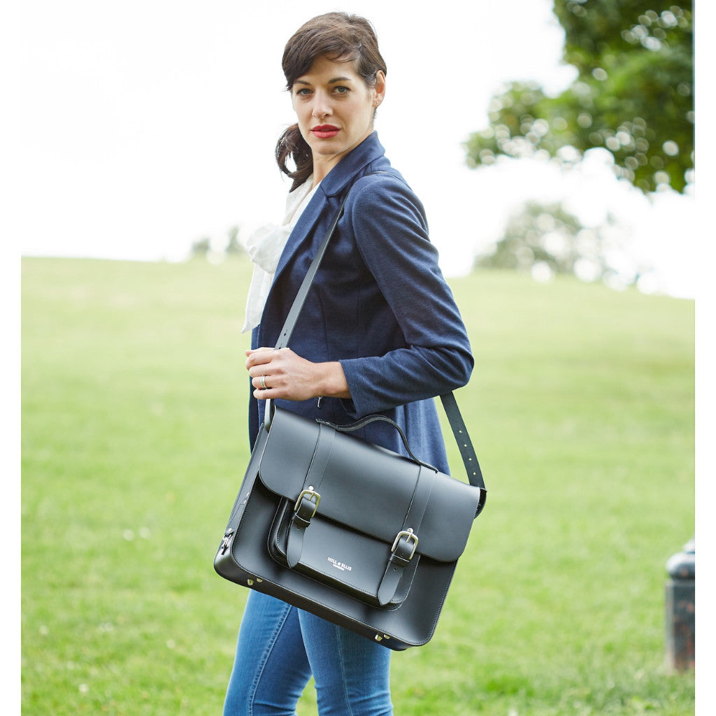 Hill & Ellis - BLACK LEATHER BIKE BAG (BYRON) - Les Facteurs