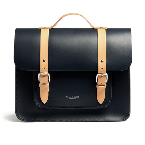 Hill & Ellis - NAVY & TAN SATCHEL BIKE BAG (PROFESSOR) - Les Facteurs