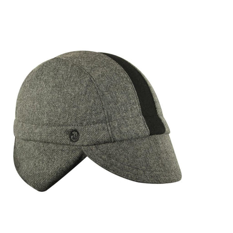 Walz Caps - Wool 3-Panel Ear Flap Grey/Black Cycling Cap - Les Facteurs