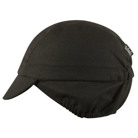 Walz Caps - Wool 3-Panel Ear Flap Black/Grey Cycling Cap - Les Facteurs