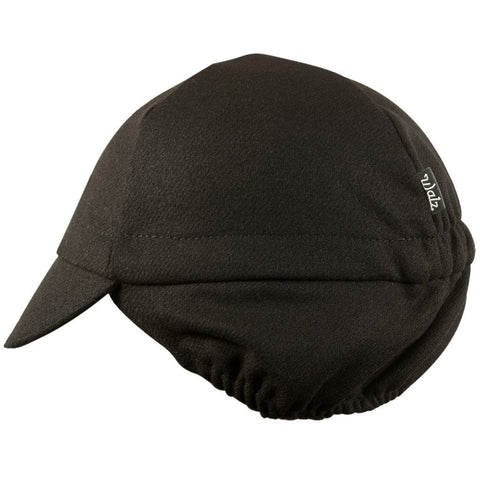 Walz Caps - Wool 4-Panel Ear Flap Black Cycling Cap - Les Facteurs