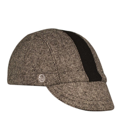 Walz Caps - Black Tweed/Black Stripe Wool 3-Panel - Les Facteurs
