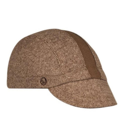 Walz Caps - Brown Tweed/Brown Stripe Wool 3-Panel - Les Facteurs