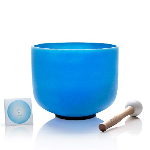 TOPFUND Quartz Crystal Singing Bowl G Note Throat Chakra 8 inch, O-ring and Rubber Mallet Included: Musical Instruments