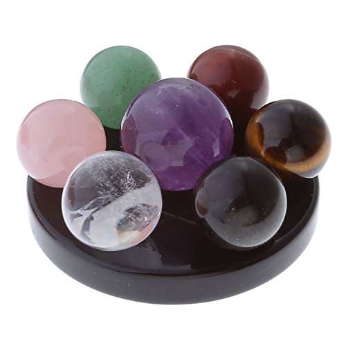 Amazon.com: Jovivi 7 Chakra Star Group Healing Crystal Quartz Energy Stone Hexagonal Point Array Statue Figurines with Obsidian Stand w/Box: Gateway