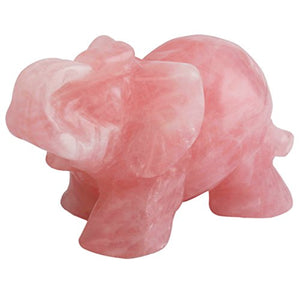 "SUNYIK Rose Quartz Elephant Pocket Statue Kitchen Guardian Healing Figurine Decor 1.5"": Gateway"