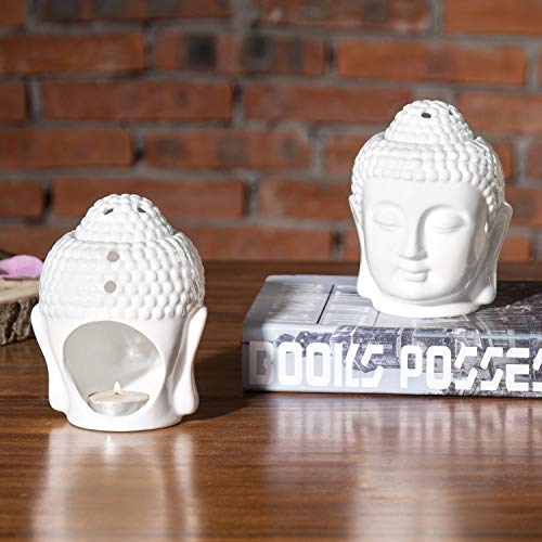 MyGift Set of 2 Translucent White Ceramic Buddha Head Tealight Candle Holder and Aromatherapy Oil Burner: Home & Kitchen