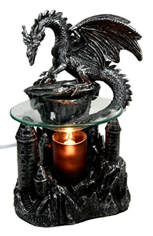 "Ebros Smaug Castle Guardian Dragon Electric Oil Burner Tart Warmer Aroma Scent Statue 9.5"" Tall Figurine: Home & Kitchen"