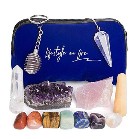 Natural Chakra Crystals and Healing Stones Gift Set- 7 Chakra Tumbles, Amethyst Cluster, Wands Set-Metaphysical, Spiritual, Healing, Reiki, Meditation 41 Pg Ebook, Zipper bag, Keychain: Home & Kitchen