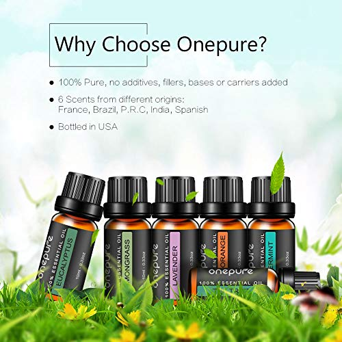 Onepure Aromatherapy Essential Oils Gift Set, 6 Bottles/ 10ml each, 100% Pure ( Lavender, Tea Tree, Eucalyptus, Lemongrass, Sweet Orange, Peppermint): Health & Personal Care