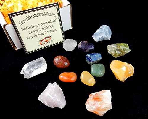 Chakra Mineral Starter Set/Crystal Healing Kit ~ 6 Colorful Mineral Stones Plus 7 Chakra Tumbled Gemstones, Spiritual Metaphysical, Reiki, Chakra, Healing, Bohemian, Natural: Home & Kitchen