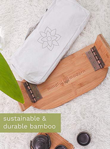 Mindful and Modern Folding Meditation Bench - Wooden Seiza Kneeling Stool for Zen Meditating Posture - Ergonomic Bamboo Yoga Stool with Portable Travel Carry Bag: Gateway