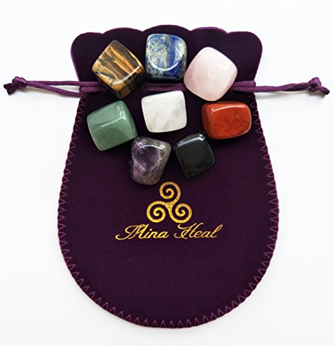 Chakra Stones Healing Crystals Set of 8, Tumbled and Polished, for 7 Chakras Balancing, Crystal Therapy, Meditation, Reiki, or as Thumb Stones, Palm Stones, Worry Stones: Health & Personal Care
