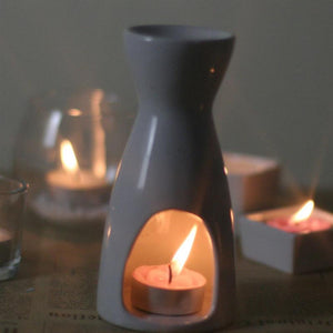 Vase Shape White Ceramic Tea Light Holder Aromatherapy Essential Oil Burner