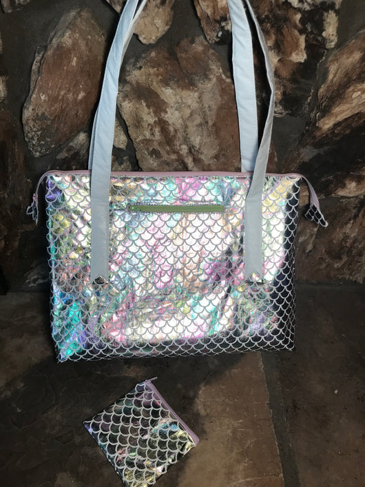 Iridescent Mermaid Purse / Knitting Bag