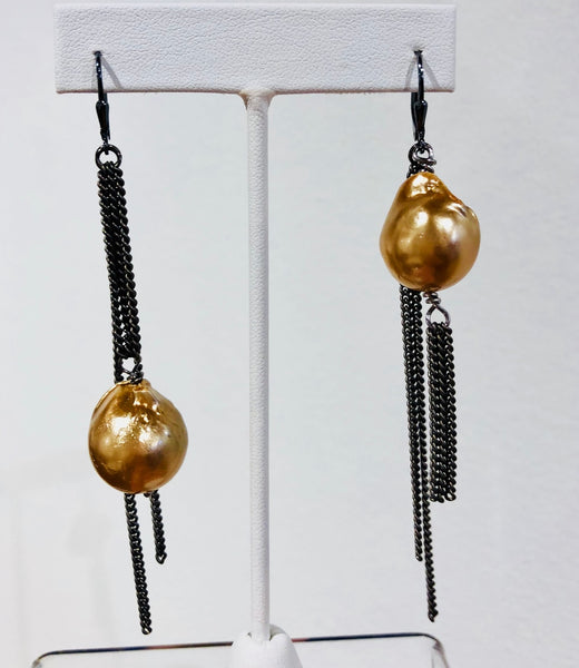 ST Gold Baroque Pearls on Gunmetal