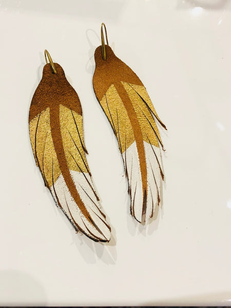 Feather Earring  White and Gold