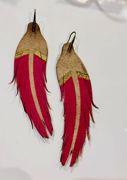 Feather Earring Leather Hot Pink