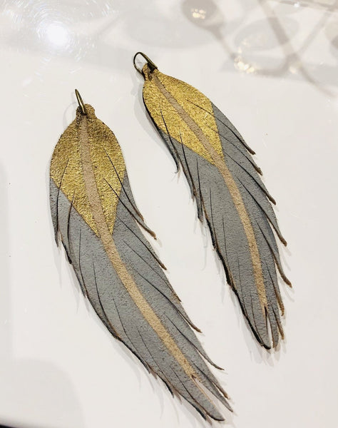 Feather Earring Snowball Blue and Gold
